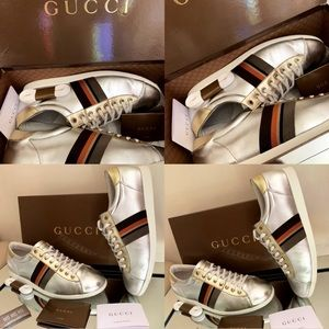 🔥🔥💯Authentic  Gucci  Silver/Gold sneakers 🔥🔥